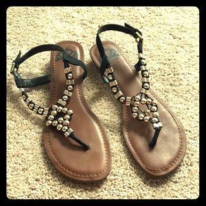 Fergalicious black & silver sandals Sz 9